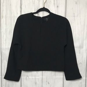 J. Crew Cropped long-sleeve top in 365 crepe
